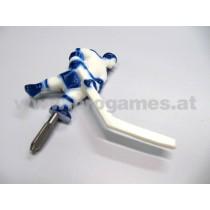 Spieler mit kurzem Stock Farbe weiss / blau für Super Chexx