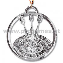 22L899 - Dart-Medaille mit Kordel 8 cm Silber