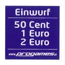 Aufkleber Einwurf 50 Cent 1,- Euro 2,- Euro